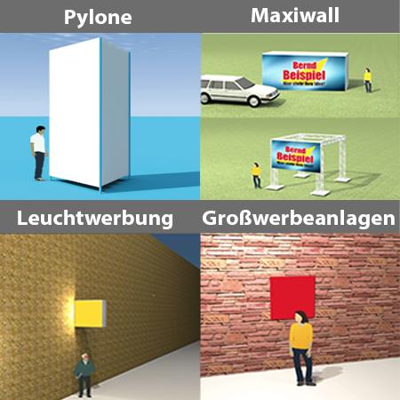 Werbepylone - Großwerbeanlage, Maxiwall und Maxitruss, Lichtwerbung