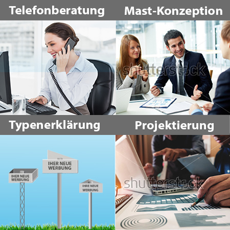 Werbemast - Telefonberatung, Konzeption, Typenerklärung, Projektierung